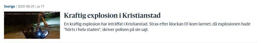 Large Bomb Explosion at Car Garage inKristianstad